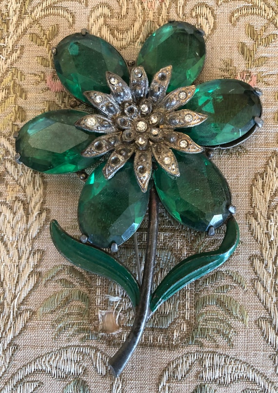 1930's Large Floral Green Stone Brooch