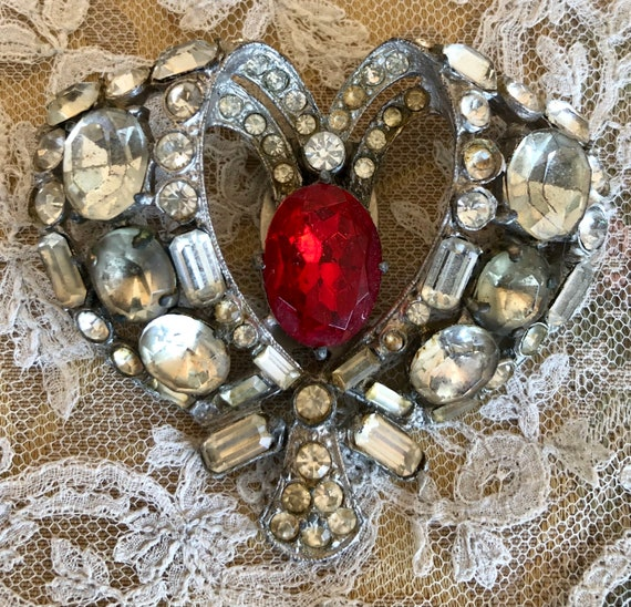 Art Deco Rhinestone Heart Dress Clip
