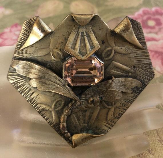 Egyptian Revival Citrine Dragonfly Brooch