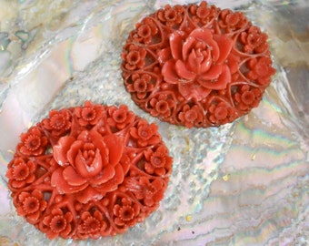 Carnelian Colored Floral Celluloid Findings