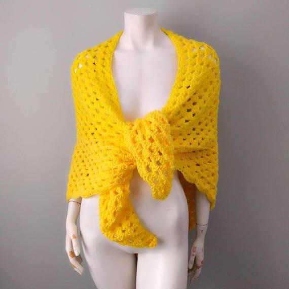 Vintage Lemon Yellow Wool Crochet Afghan Knit Shaw