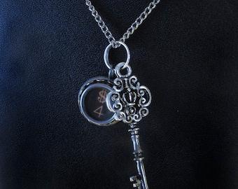 Vintage Typewriter Key Necklace Pendant with Key Charm