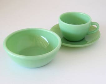 Fire-King Jadeite Restaurant Ware Ten Oz Bowl and Cup and Saucer