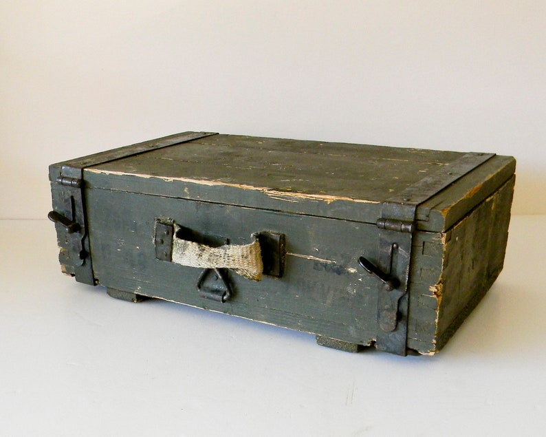 Vintage Olive Green Russian Wood Ammo Box