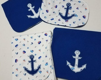 Baby Gift Set - Nautical Anchor- 2 receiving blankets, 2 burp clothes