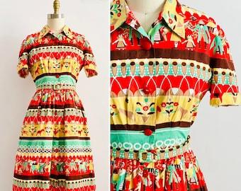 Vintage 1940s colorful pilgrim novelty print dress