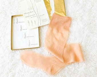 2ad6c339ad Vintage Deadstock Nylon Sheer Stocking Pastel Color Knee Length Stockings Peach  Color Vintage Hosiery