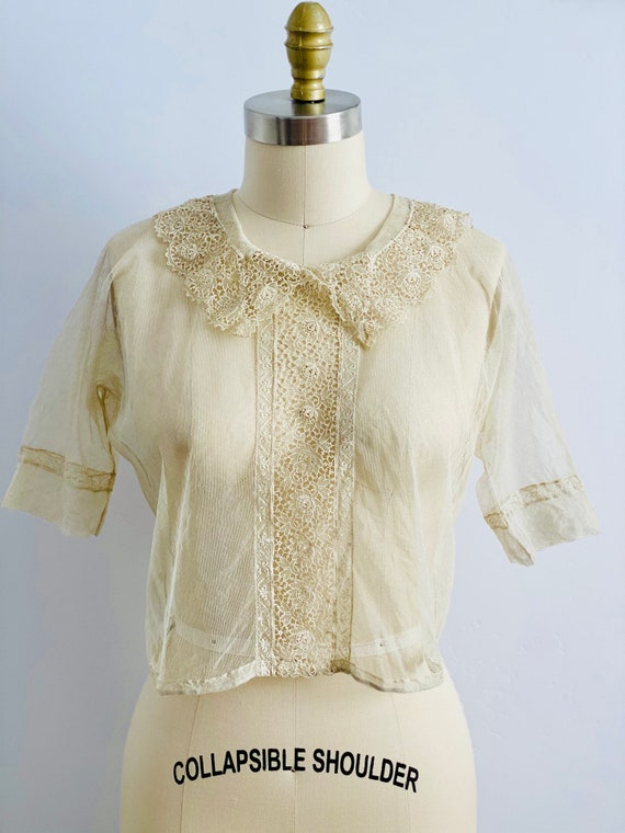 Vintage 1920s Tulle Chemical Lace Top Intricate C… - image 7