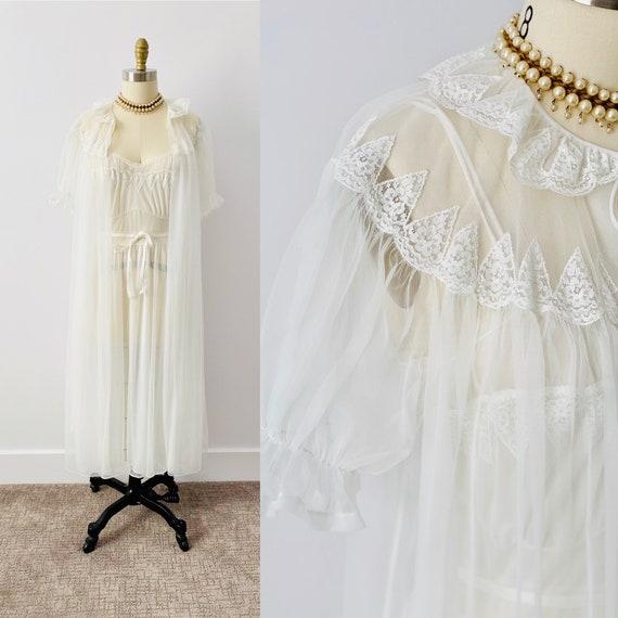 Vintage 1950s Peignoir Set/ Vintage Lingerie/ Shee