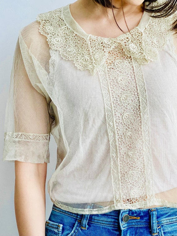 Vintage 1920s Tulle Chemical Lace Top Intricate C… - image 2