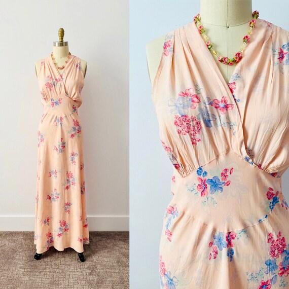 Vintage 1930s Floral Dress/ Vintage Rayon Dress/ F