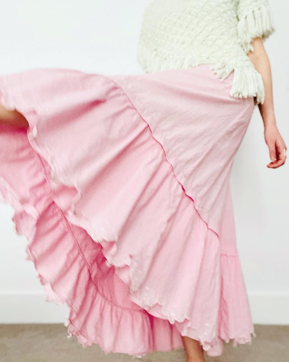 Antique 1910s Edwardian Candy Pink Cotton Embroide
