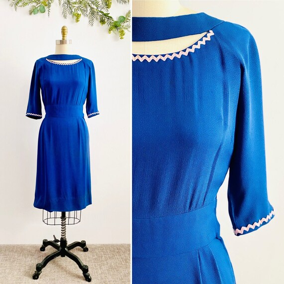 Vintage 1940s Royal Blue Rayon Dress with Cutout N