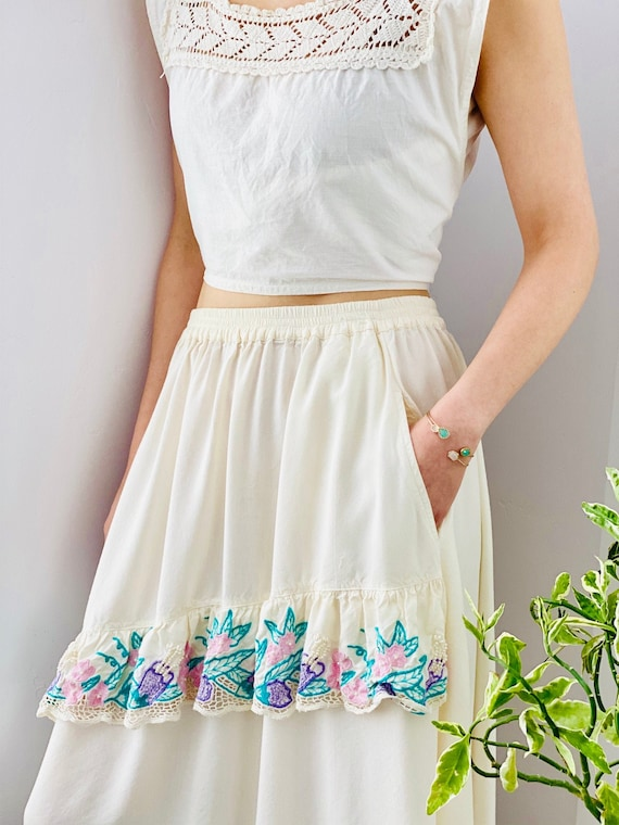 1970s White Embroidered Pearls Beaded Rayon Skirt