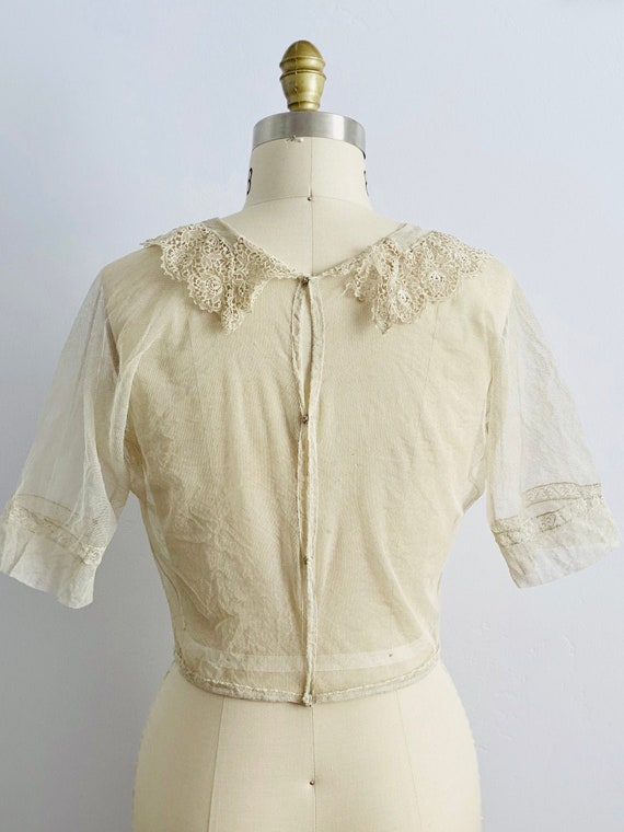 Vintage 1920s Tulle Chemical Lace Top Intricate C… - image 4