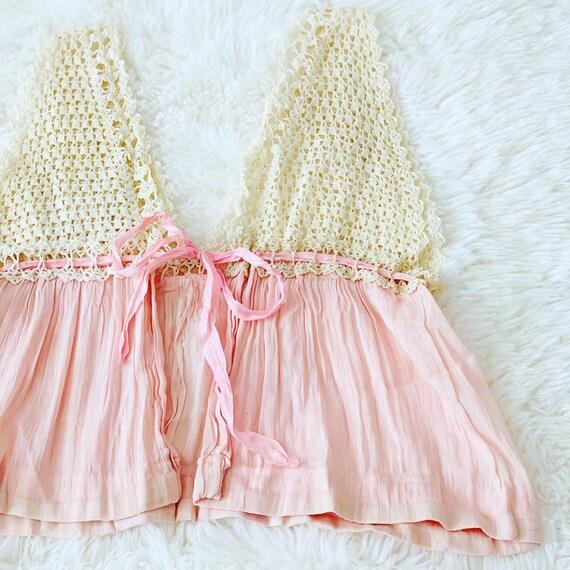Vintage 1920s Lace Top/Pastel Pink/Cotton Gauze/Cr