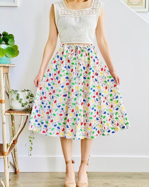 Vintage Colorful Umbrella Novelty Print Skirt Draw