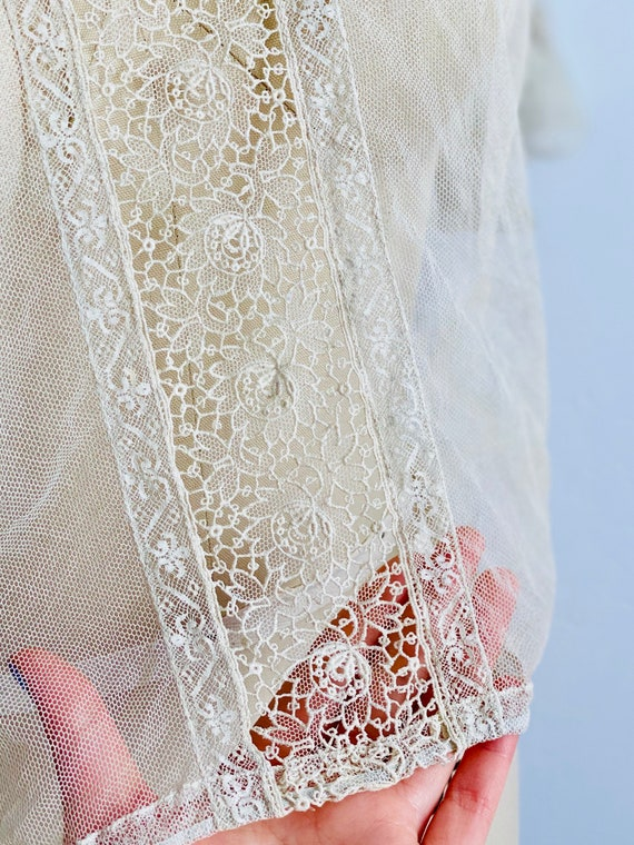 Vintage 1920s Tulle Chemical Lace Top Intricate C… - image 8