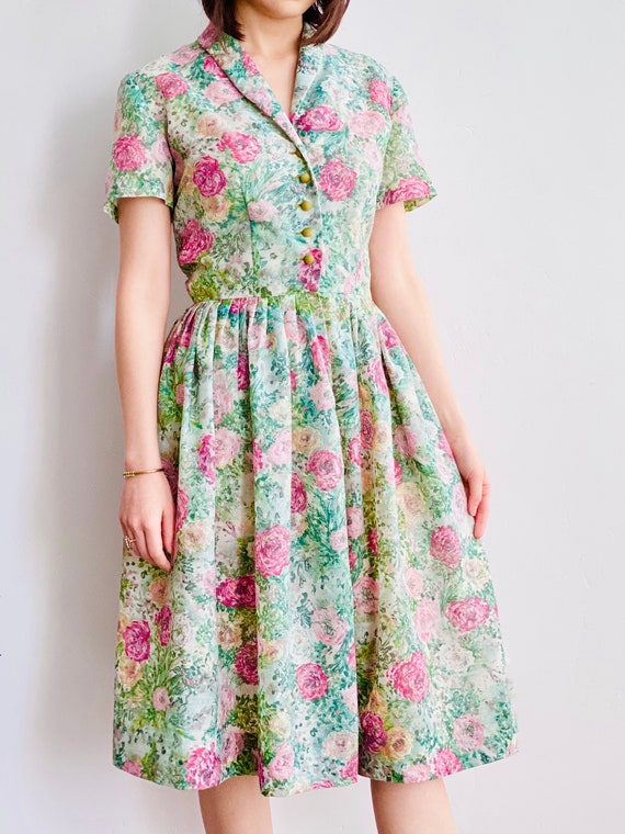 1940s Nelly Don Dress Watercolor Floral Print