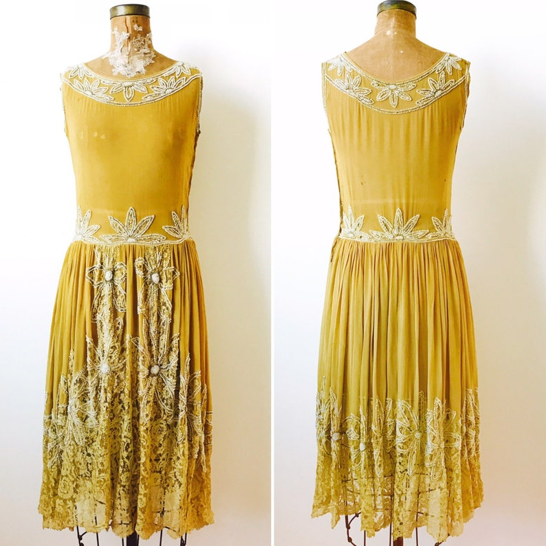 Vintage 1920s Beaded Silk Flapper Dress/Oliver color/Lace image 0
