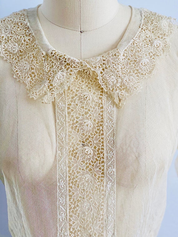 Vintage 1920s Tulle Chemical Lace Top Intricate C… - image 6