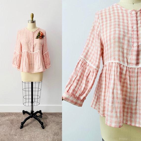 Vintage Pink Gingham Top/ Pastel Pink Blouse/ Chec