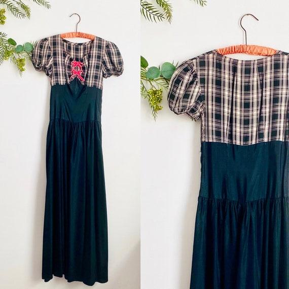 Vintage 1930s Puff Sleeves Taffeta Dress/ Velvet R