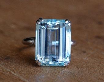 RESERVED // Vintage mid-century 11.5 carat emerald cut aquamarine cocktail ring