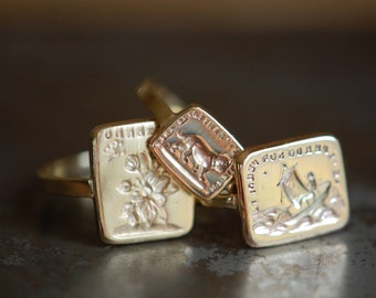 Victorian double-sided wax seal ring ∙ antique wax signet ring ∙ Jean Jean Cachet Collection