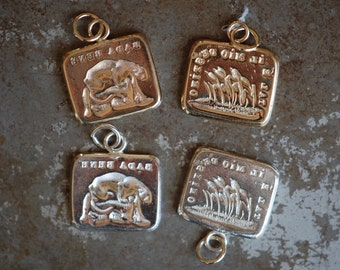 """Cachet Collection Victorian reversible wax seal charm or ring ∙ """"Go with the flow"""" ∙ be mindful, prairie, go with the flow, destiny"""