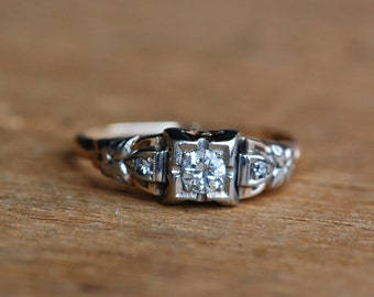 Vintage 1940s 14K two tone diamond engagement ring