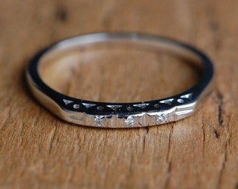 Vintage mid-century thin 14K white gold band with diamond stations