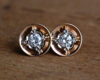 Vintage mid-century 14K two-tone Old European Cut diamond saucer earrings