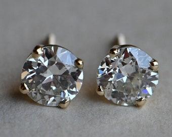 Vintage 14K 1.19 CTW Old European Cut Diamond stud earrings