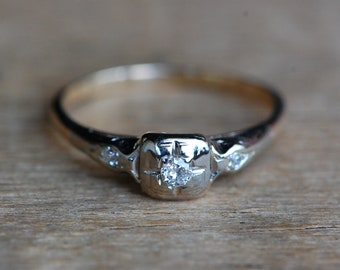 Vintage 1940s two tone Old European Cut diamond engagement ring