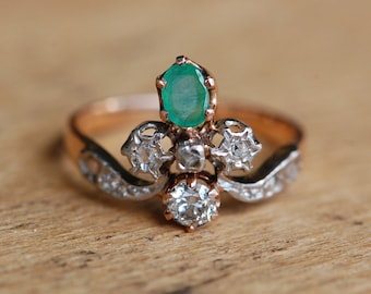 Antique Belle Epoque 1890s French Duchess ring with rose cut diamonds and emerald