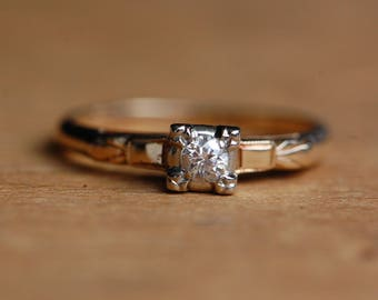 Vintage 14K Old European Cut diamond solitaire engagement ring