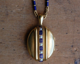 Antique Victorian locket with pearls, cobalt blue enamel, and 18K Byzantine chain