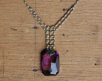 Vintage 1920s seed pearl necklace with amethyst glass drop