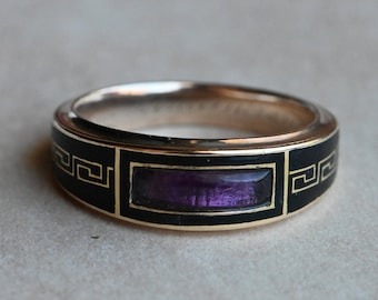 Antique Georgian 9 CT Greek Key enamel mourning ring with amethyst and engraving