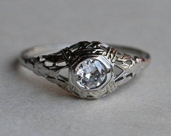 Antique Art Deco 1930s 18K .40 carat Old European Cut diamond engagement ring