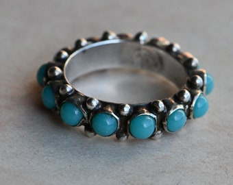 Vintage 5 US Mexican sterling and turquoise eternity band