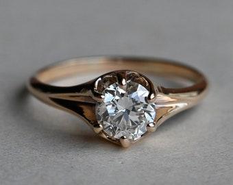 Antique 14K gold 1910s 1.01 carat Old European Cut diamond solitaire ring