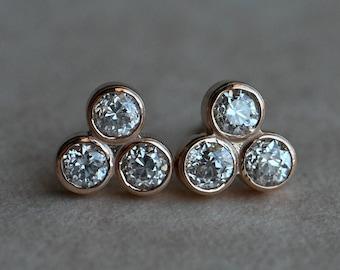 Antique 14K .73 CTW trillium set Old European Cut diamond ear studs