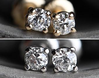 Vintage 14K or platinum .33 CTW Old Mine Cut Diamond stud earrings