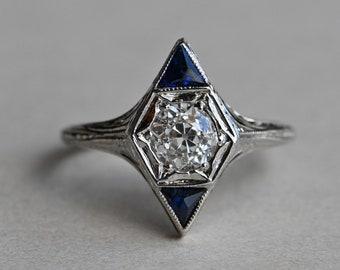 Antique Art Deco .72 carat Old Mine Cut diamond and sapphire dress ring