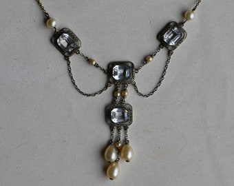 Antique 1910s festoon necklace with simulated diamonds and faux pearls