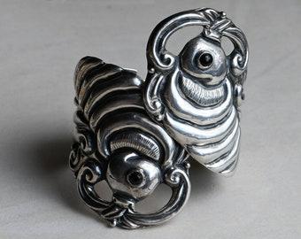 Vintage mid-century Mexican sterling Koi fish statement clamper bracelet