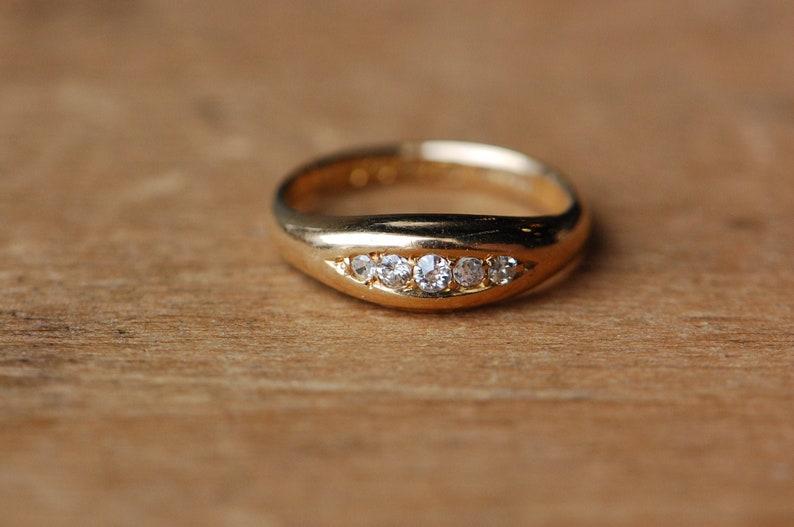 Antique 18K 1910s Edwardian five-stone diamond wedding band or image 0