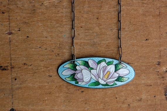 Antique 1910s Art Nouveau water lily enamel brooch